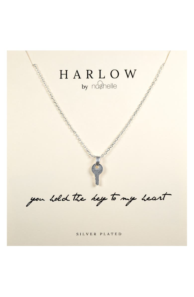 NASHELLE HARLOW by Nashelle Key Boxed Necklace, Main, color, SILVER