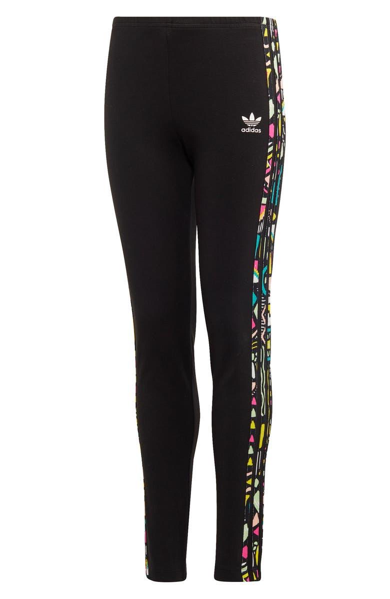 ADIDAS 3-Stripe Leggings, Main, color, BLACK/ MULTCO