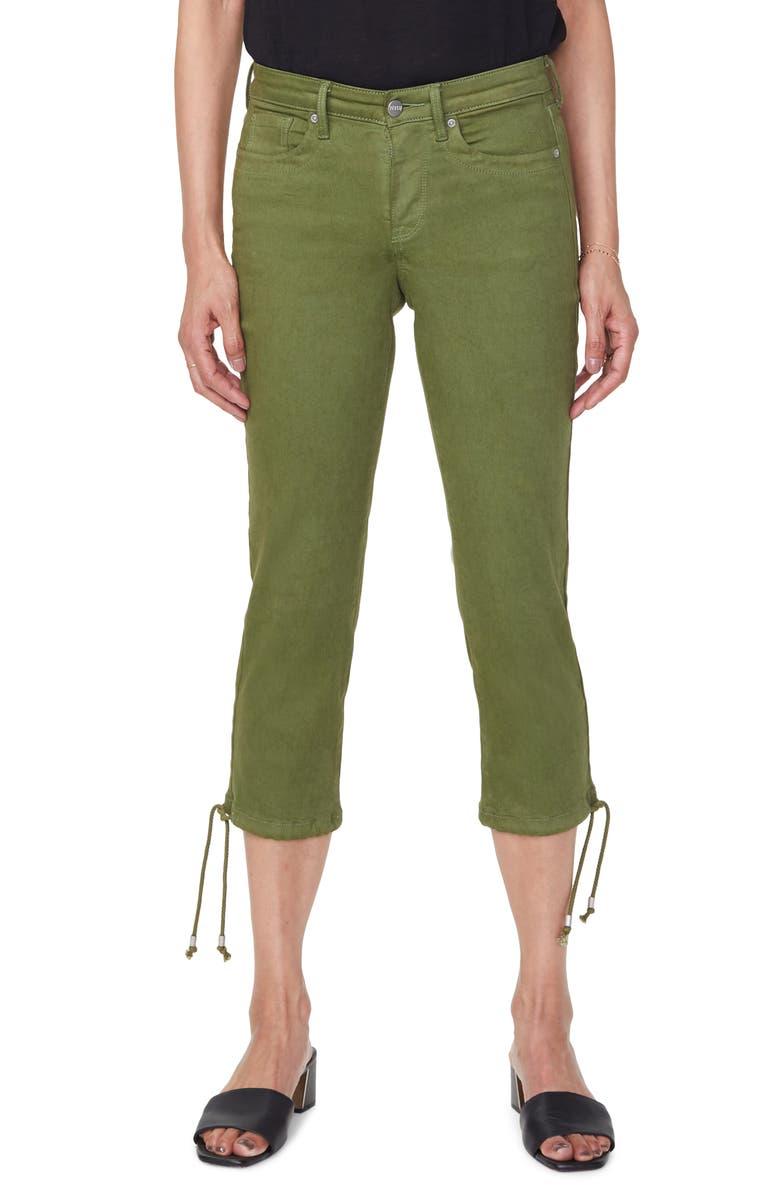 NYDJ Drawcord Hem Capri Jeans, Main, color, OLIVINE