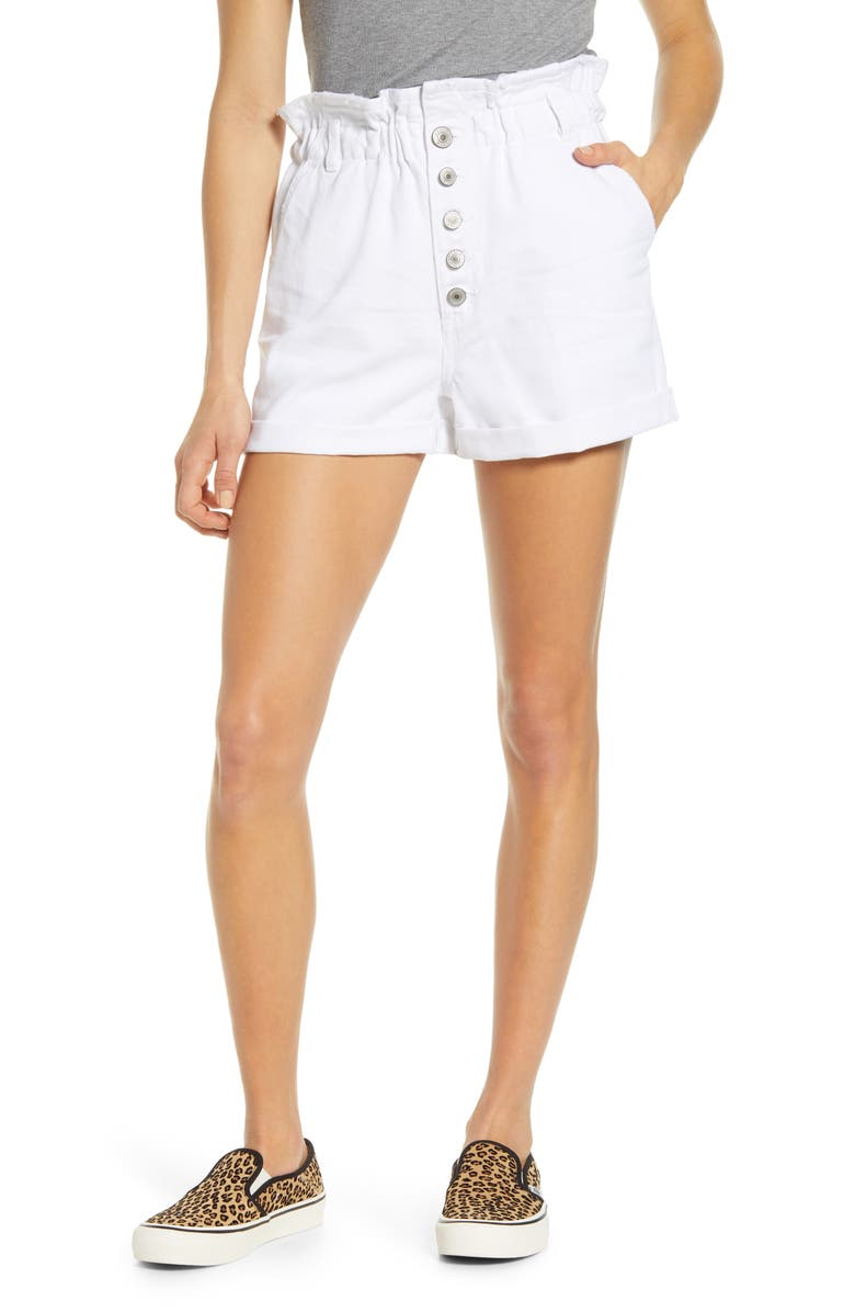 STS BLUE Hayley High Waist Paperbag Denim Shorts, Main, color, WHITE