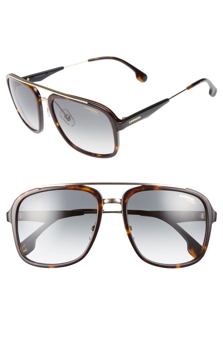CARRERA EYEWEAR 57mm Sunglasses, Main, color, HAVANA GOLD