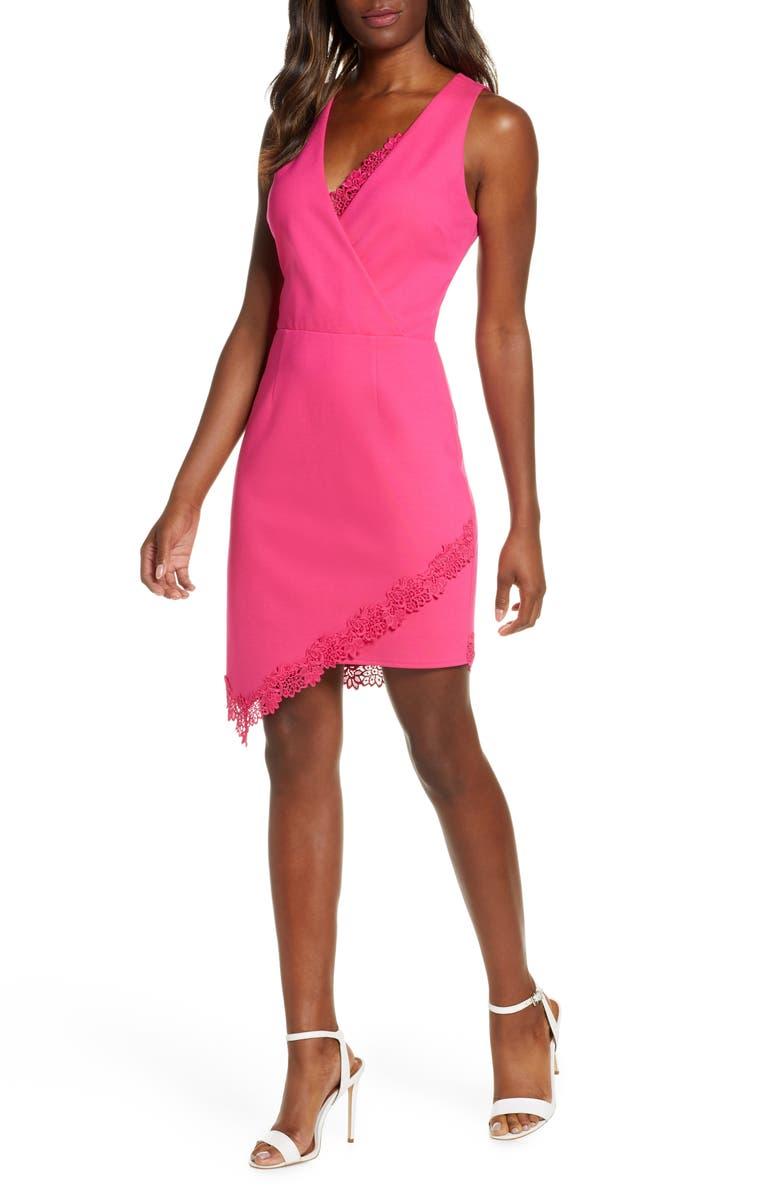 ADELYN RAE Brie Sheath Dress, Main, color, BERRY