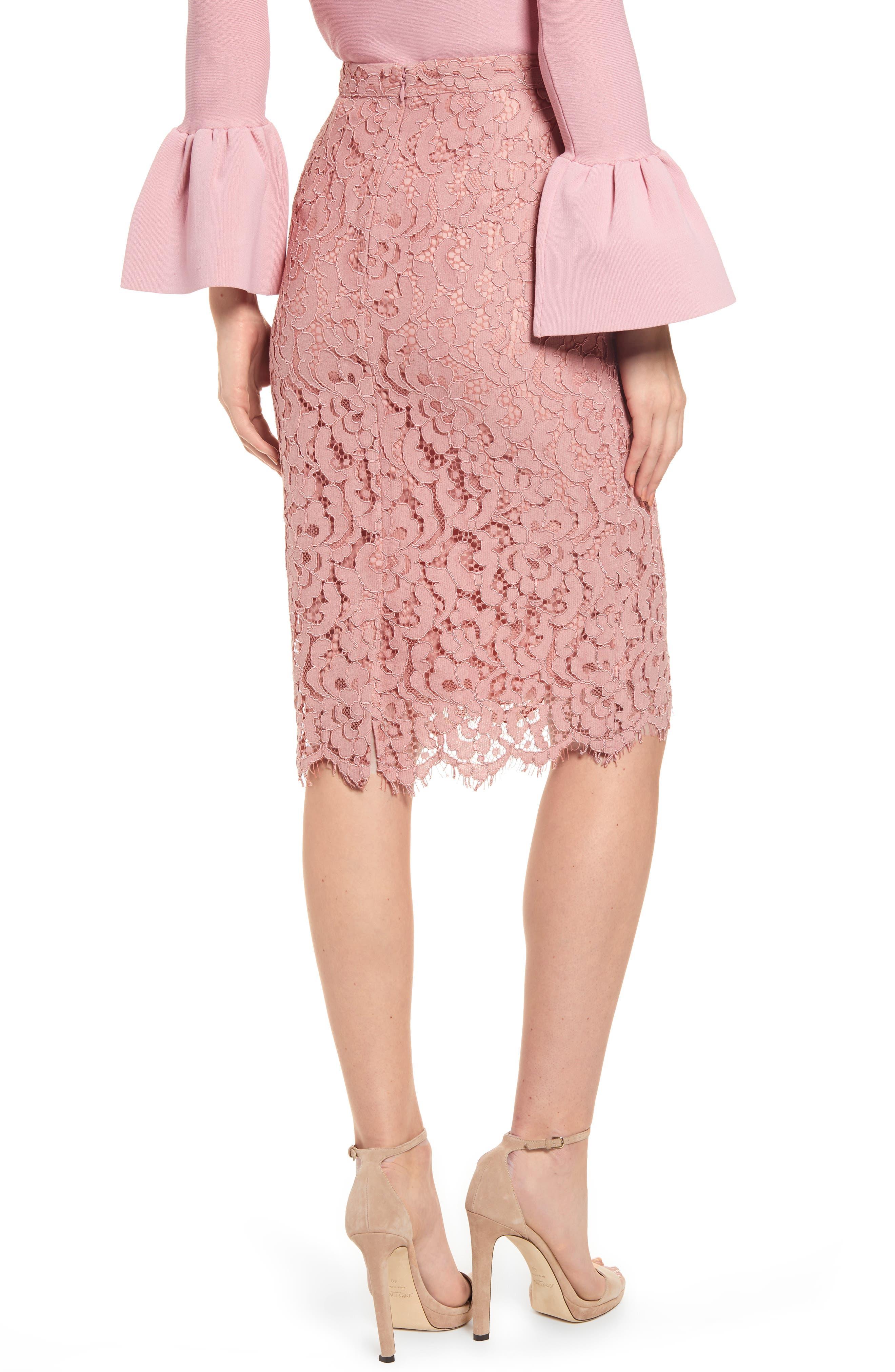 ,                             Lace Pencil Skirt,                             Alternate thumbnail 2, color,                             PINK BEAUTY
