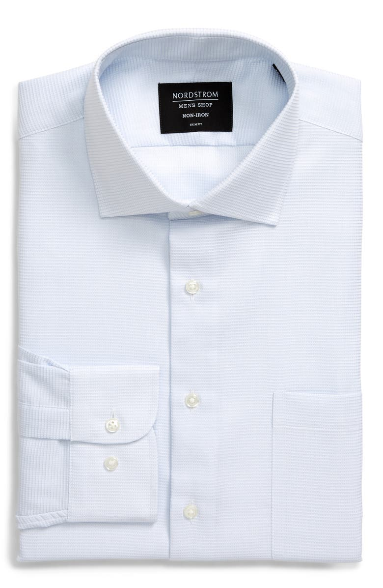 NORDSTROM MEN'S SHOP Trim Fit Non-Iron Solid Dress Shirt, Main, color, BLUE AIR