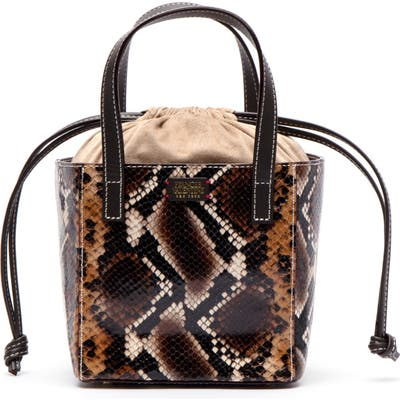 Frances Valentine Moxy Snake Embossed Leather Tote - Brown