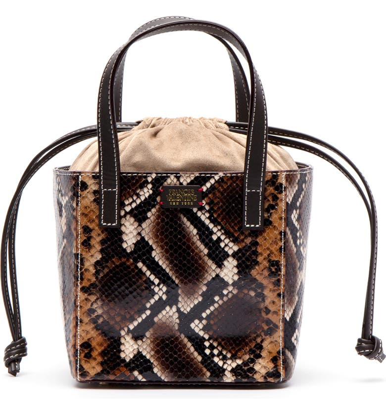 FRANCES VALENTINE Moxy Snake Embossed Leather Tote, Main, color, NAT/ BROWN