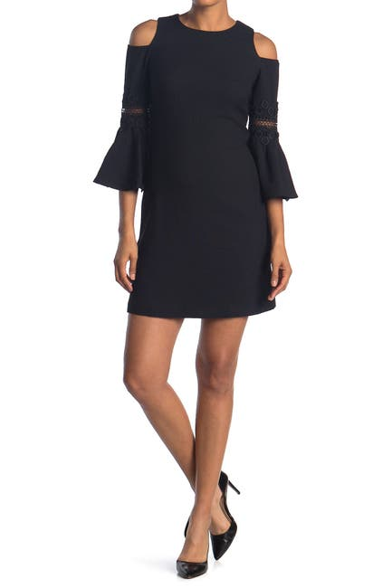 Image of Eliza J Lace Applique Crepe Cold Shoulder Dress