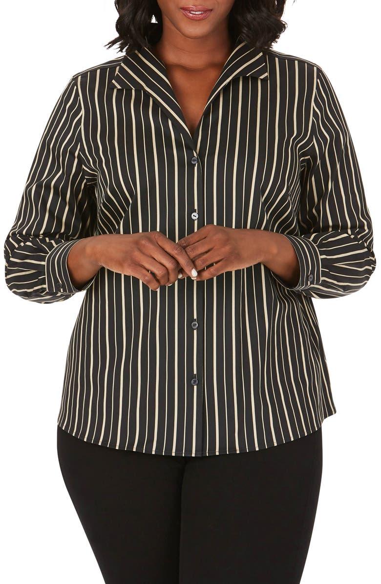 FOXCROFT Gracey Festive Stripe Shirt, Main, color, BISCOTTI