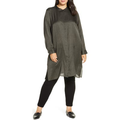 Plus Size Eileen Fisher Long Sleeve Silk & Cotton Tunic Top, Brown