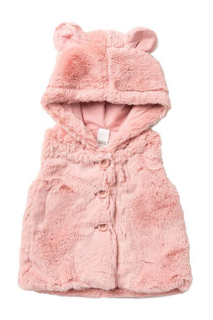 Image of Harper Canyon Faux Fur Hooded Vest (Baby Girls)