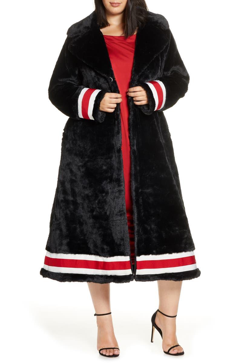 COLDESINA Grosgrain Ribbon Trim Faux Fur Swing Coat, Main, color, BLACK W/ BLACK JAGUAR LINING