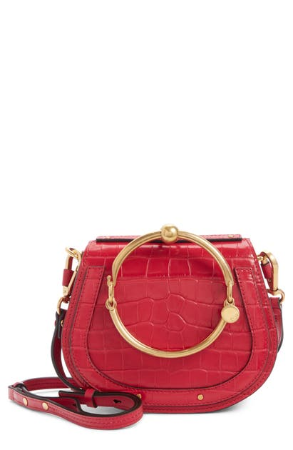 Chloé Crossbody NILE BRACELET CROC EMBOSSED LEATHER CROSSBODY BAG - RED