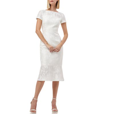 Kay Unger Flounce Hem Embroidered Mesh Cocktail Dress, White