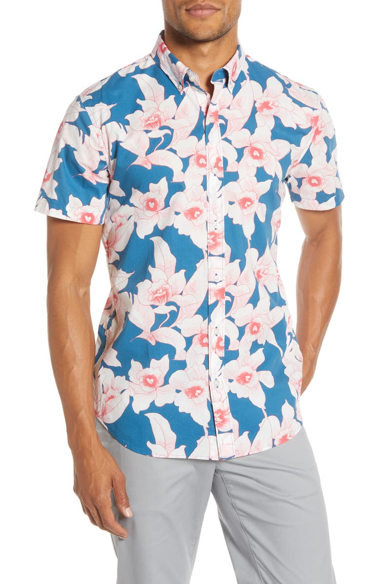 BONOBOS Slim Fit Floral Short Sleeve Button-Down Shirt, Main, color, CYANOTYPE FLORAL - STRAWBERRY