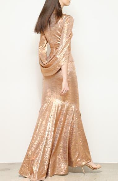 Mirror Ball Drape Back Trumpet Gown, video thumbnail