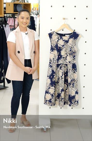 Floral Sleeveless Cotton Blend Poplin Dress, sales video thumbnail