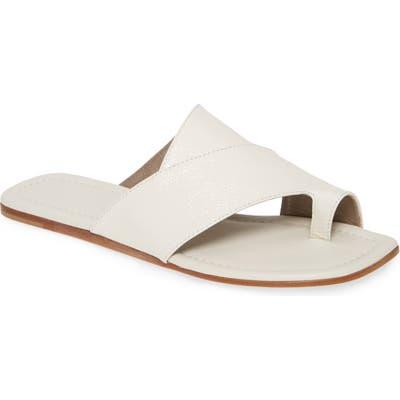 Agl Asymmetrical Toe Loop Slide Sandal, White