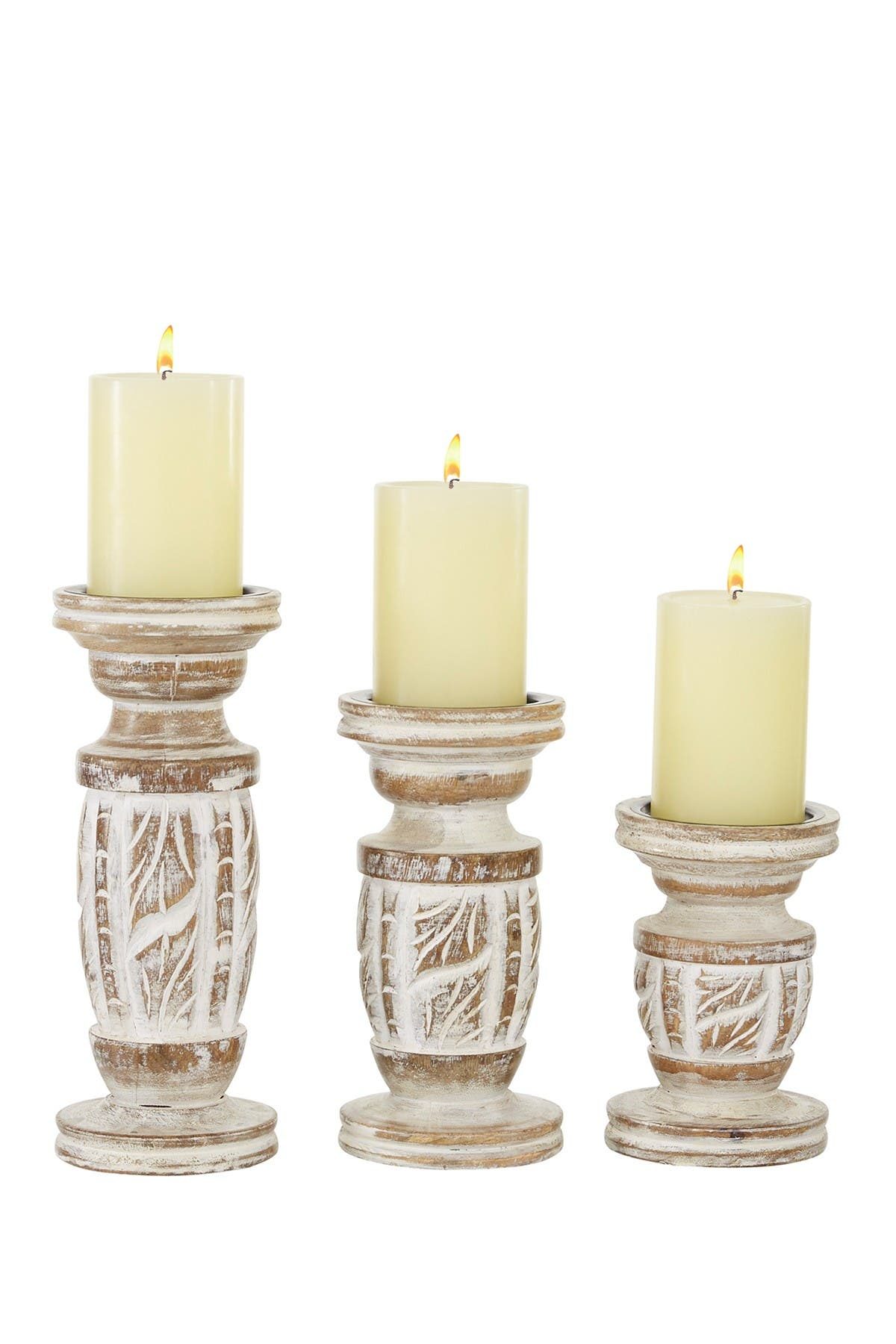 Image of Willow Row White Mango Wood Country Cottage Candle Holder - Set of 3