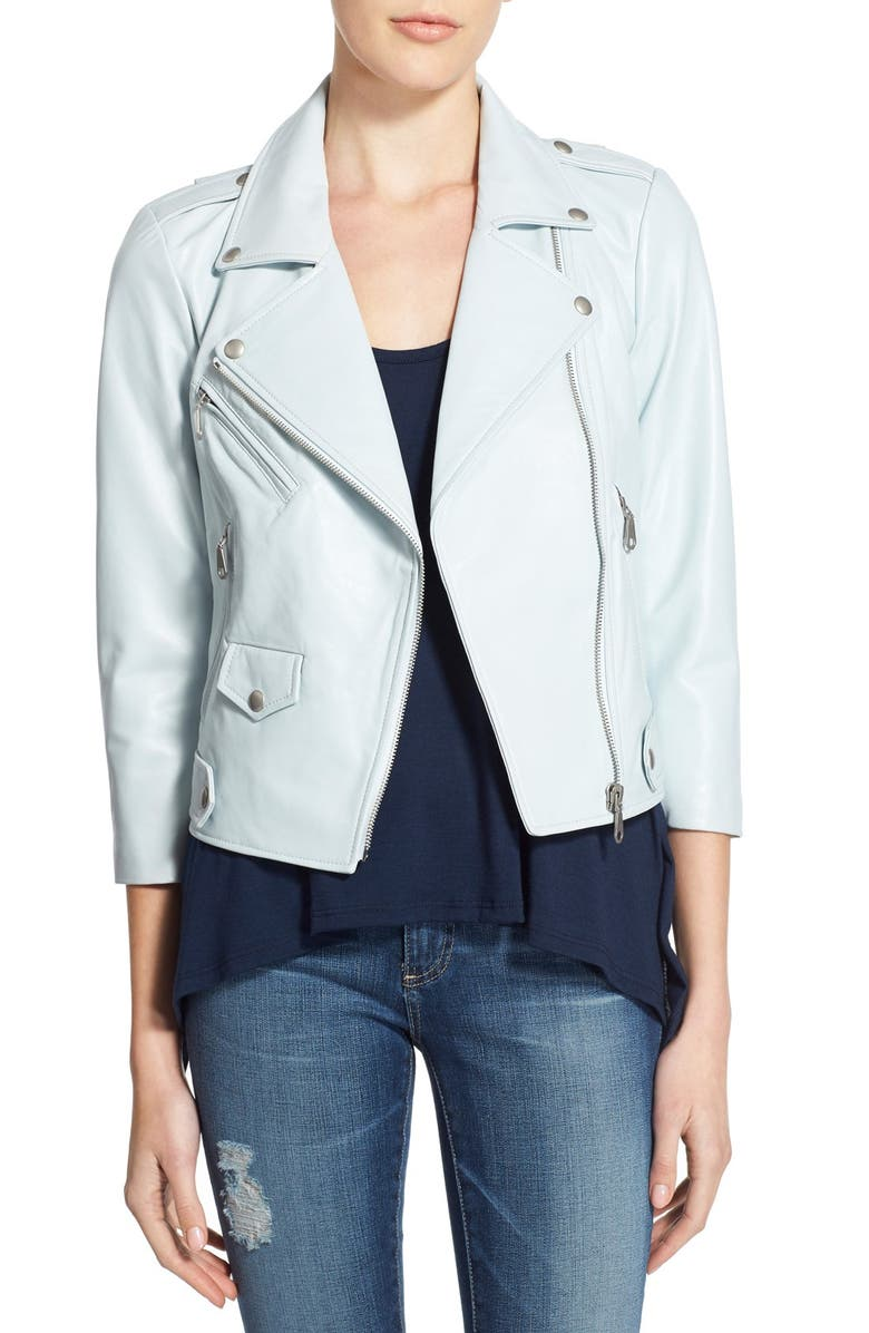 REBECCA MINKOFF 'Wes' Crop Leather Moto Jacket, Main, color, 400