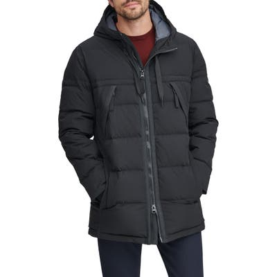 Marc New York Holden Water Resistant Down & Feather Fill Quilted Coat, Black
