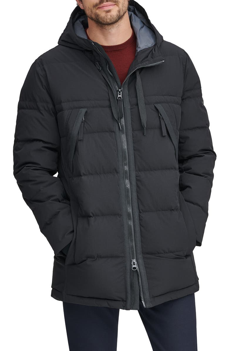 MARC NEW YORK Holden Water Resistant Down & Feather Fill Quilted Coat, Main, color, BLACK