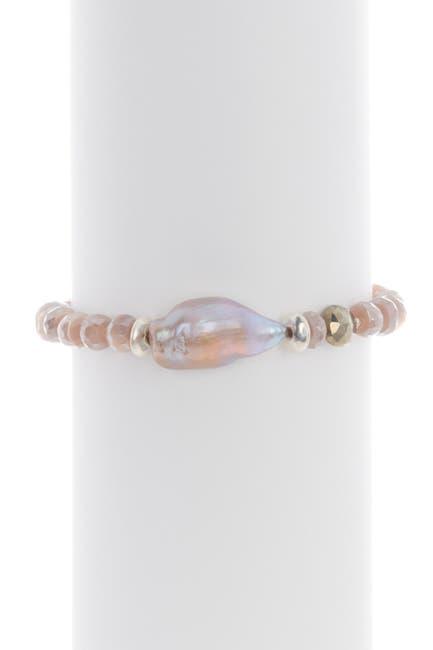 Image of Chan Luu Sterling Silver 14-25mm Pearl & Stone Bracelet
