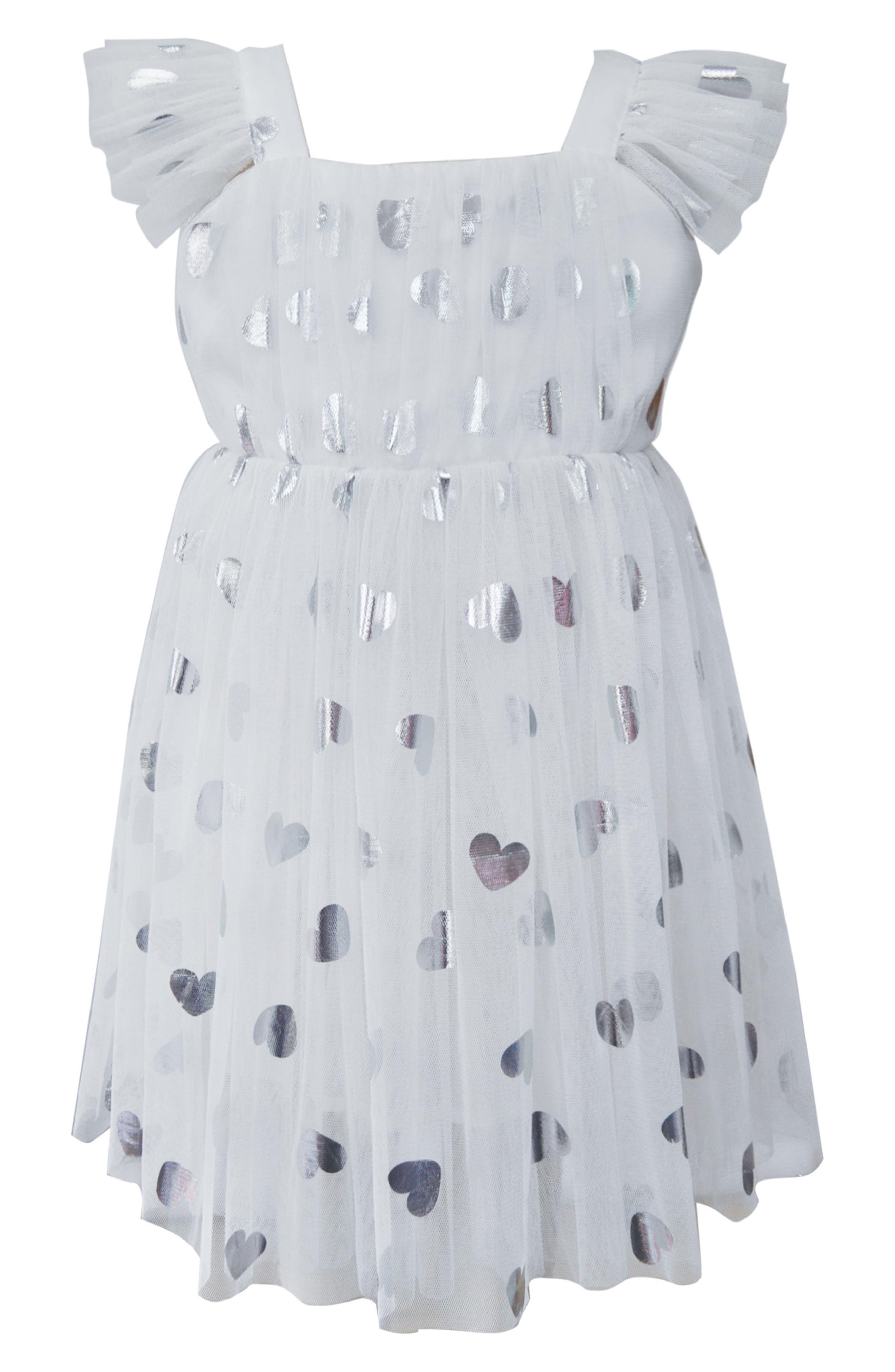 9c146e3de Girl's Popatu Silver Heart Embellished Tulle Dress, White