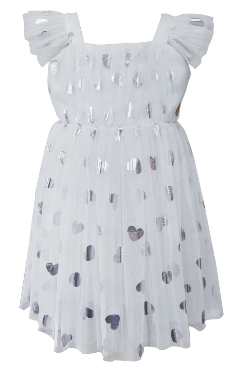 POPATU Silver Heart Embellished Tulle Dress, Main, color, WHITE