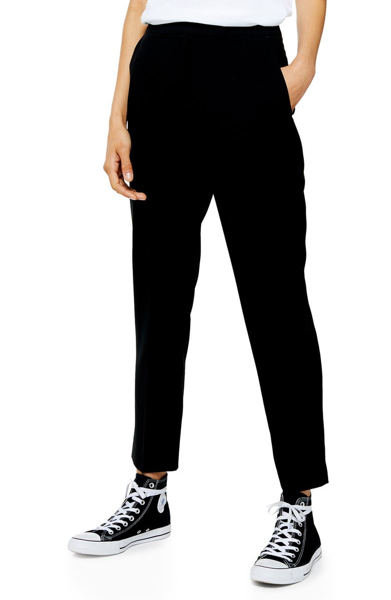 TOPSHOP Markie Cigarette Trousers, Main, color, BLACK