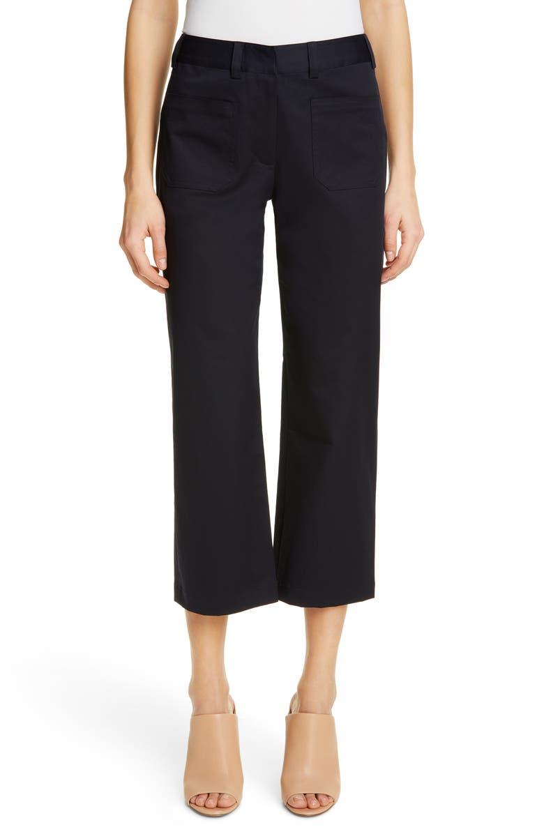JENNI KAYNE Patch Pocket Stretch Cotton Twill Pants, Main, color, DARK NAVY