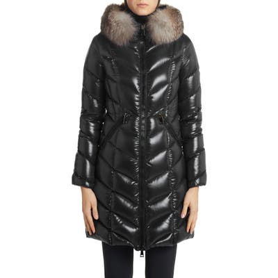 Moncler Fulmarus Quilted Down Puffer Coat With Removable Genuine Fox Fur Trim, (fits like 4-6 US) - Black