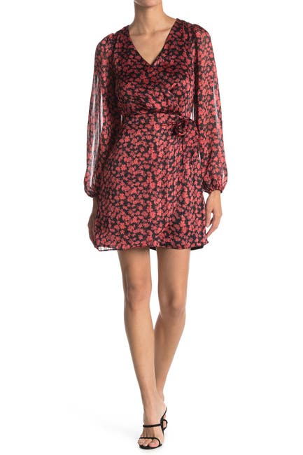 Image of Lush Printed Surplice Neck Dress