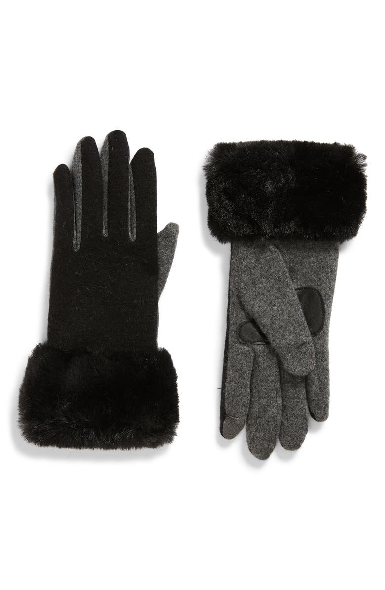 ECHO Wool & Cashmere Blend Gloves with Faux Fur Cuff, Main, color, BLACK