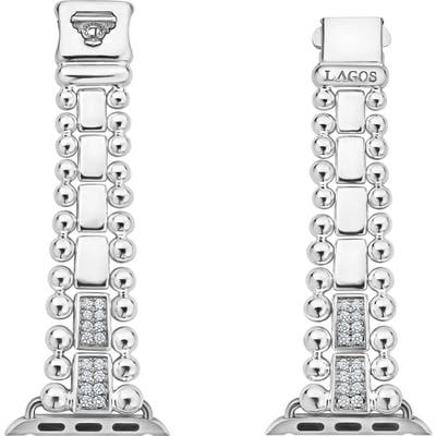 Lagos Smart Caviar Sterling Silver Link Band With Diamonds For Apple Watch