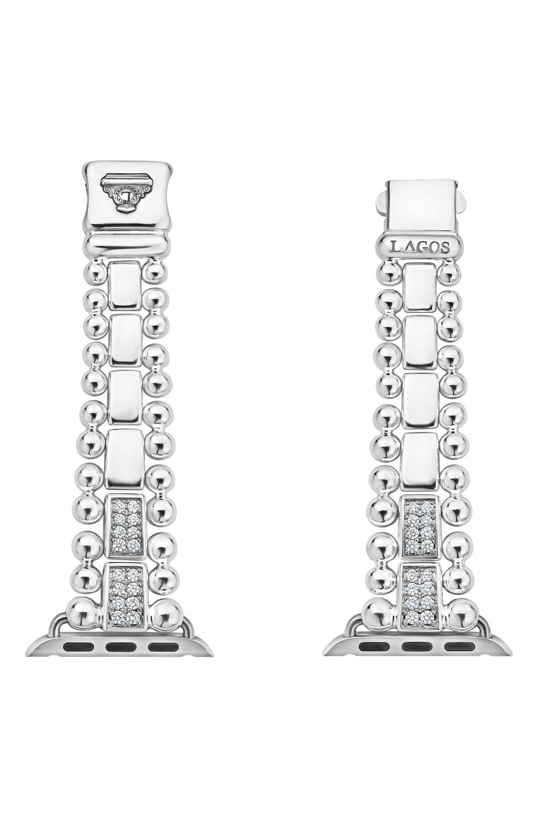 LAGOS Smart Caviar Sterling Silver Link Band with Diamonds for Apple Watch<sup>®</sup>, Main, color, SILVER/ DIAMOND