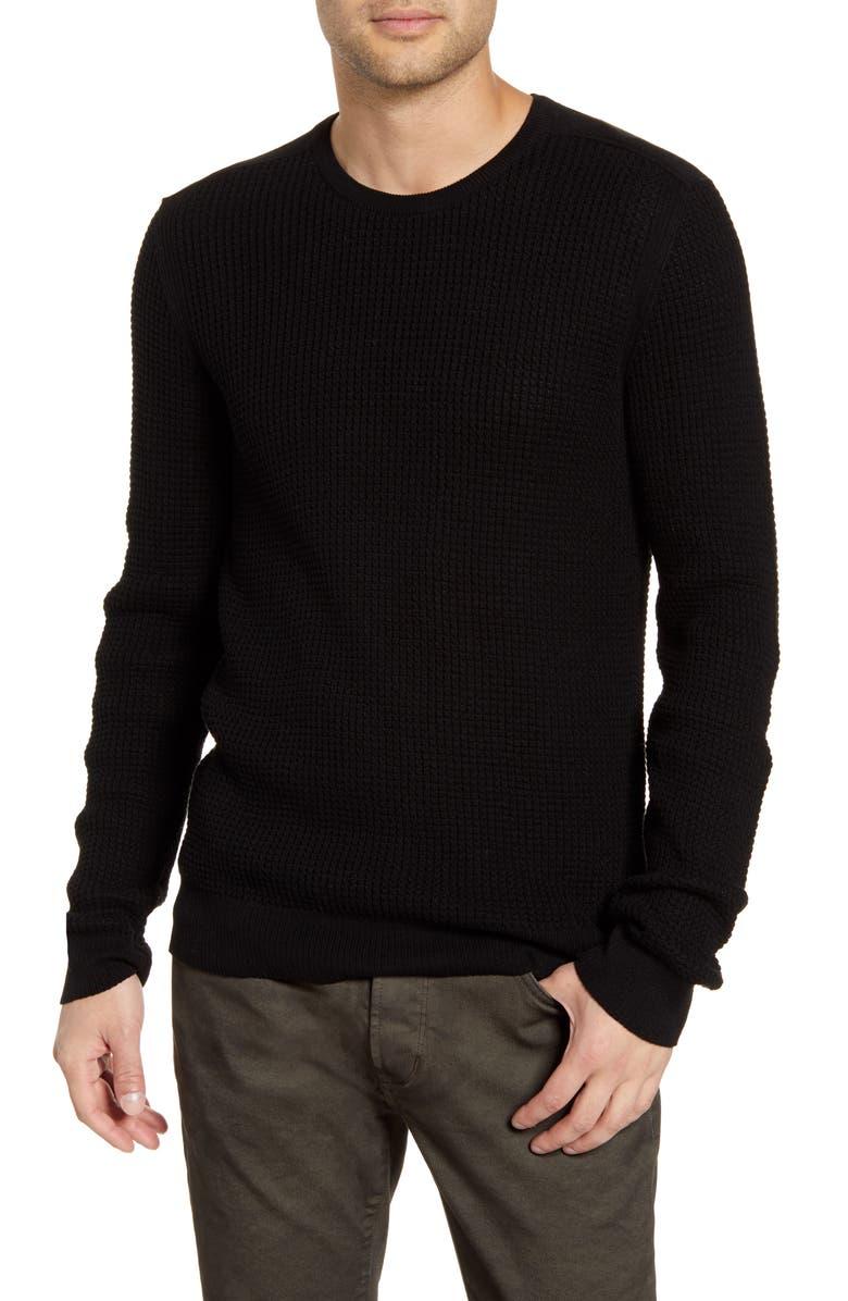 JOHN VARVATOS STAR USA Davidson Regular Fit Cotton Crewneck Sweater, Main, color, BLACK