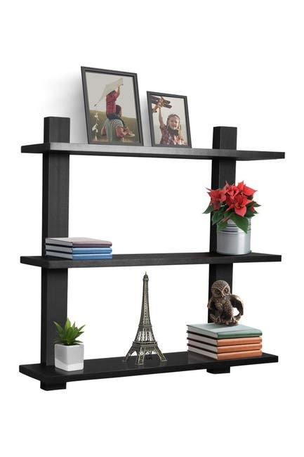 Image of Sorbus Black 3-Tier Floating Shelf
