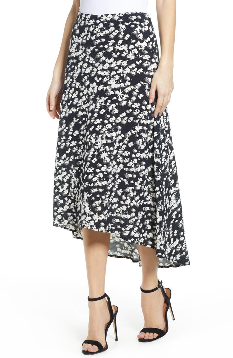 LEITH Paneled Midi Skirt, Main, color, BLACK STARBURST