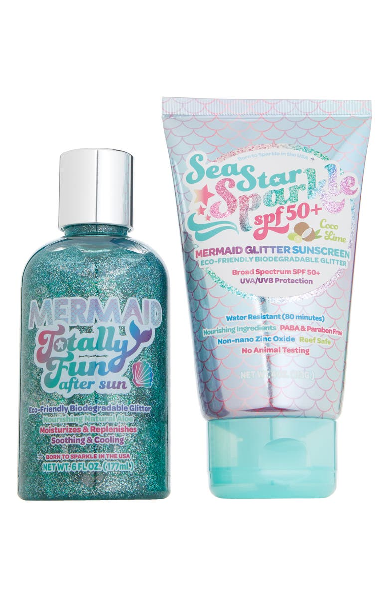 SUNSHINE & GLITTER Mermazing Glitter Sunscreen & After Sun Soothing Lotion Gift Set, Main, color, 400