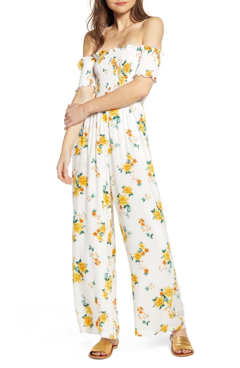 MINKPINK Lemon Bloom Off the Shoulder Jumpsuit, Main, color, 900
