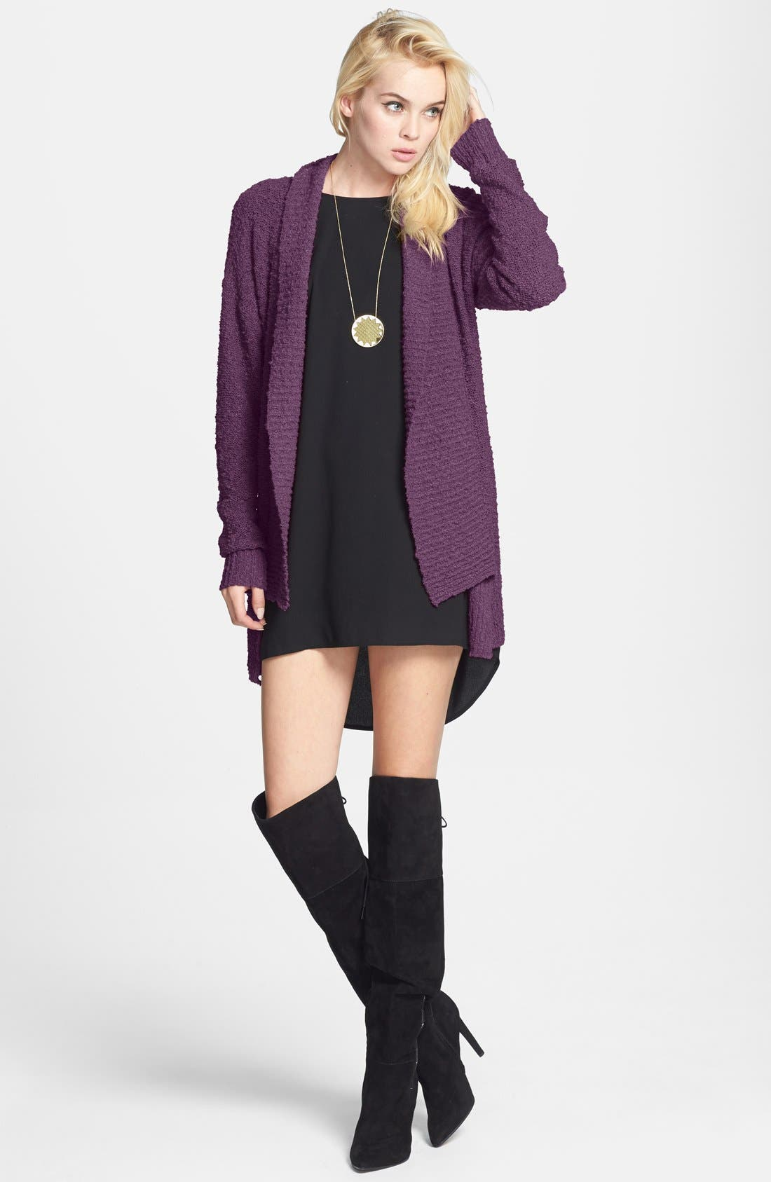 ,                             Textured Open Front Cardigan,                             Main thumbnail 14, color,                             501