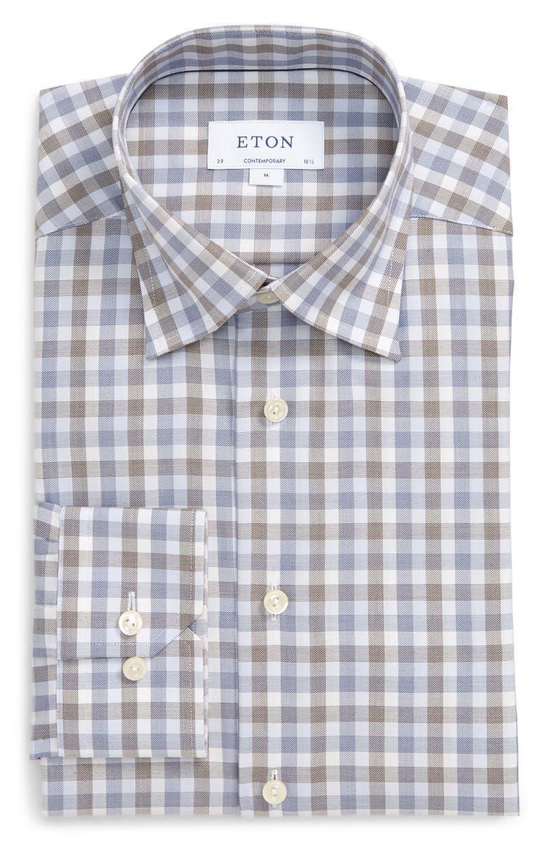 ETON Contemporary Fit Plaid Dress Shirt, Main, color, 400
