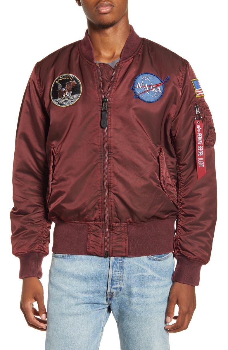 ALPHA INDUSTRIES NASA MA-1 Apollo Battleworn Reversible Bomber Jacket, Main, color, COMMANDER RED