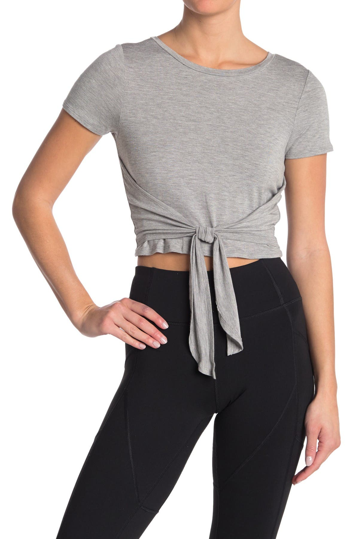 Image of MATERIAL GIRL Short Sleeve Tie Front Tee