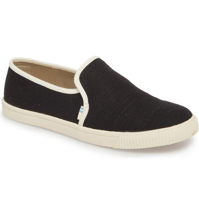 TOMS Clemente Slip-On, Main, color, BLACK HERITAGE CANVAS