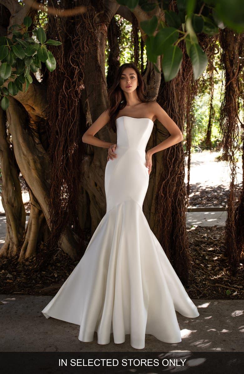 Pronovias Oberon Strapless Mikado Mermaid Wedding Dress Nordstrom