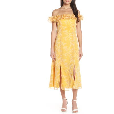Keepsake The Label Embrace Ruffled Off The Shoulder Midi Dress, Yellow