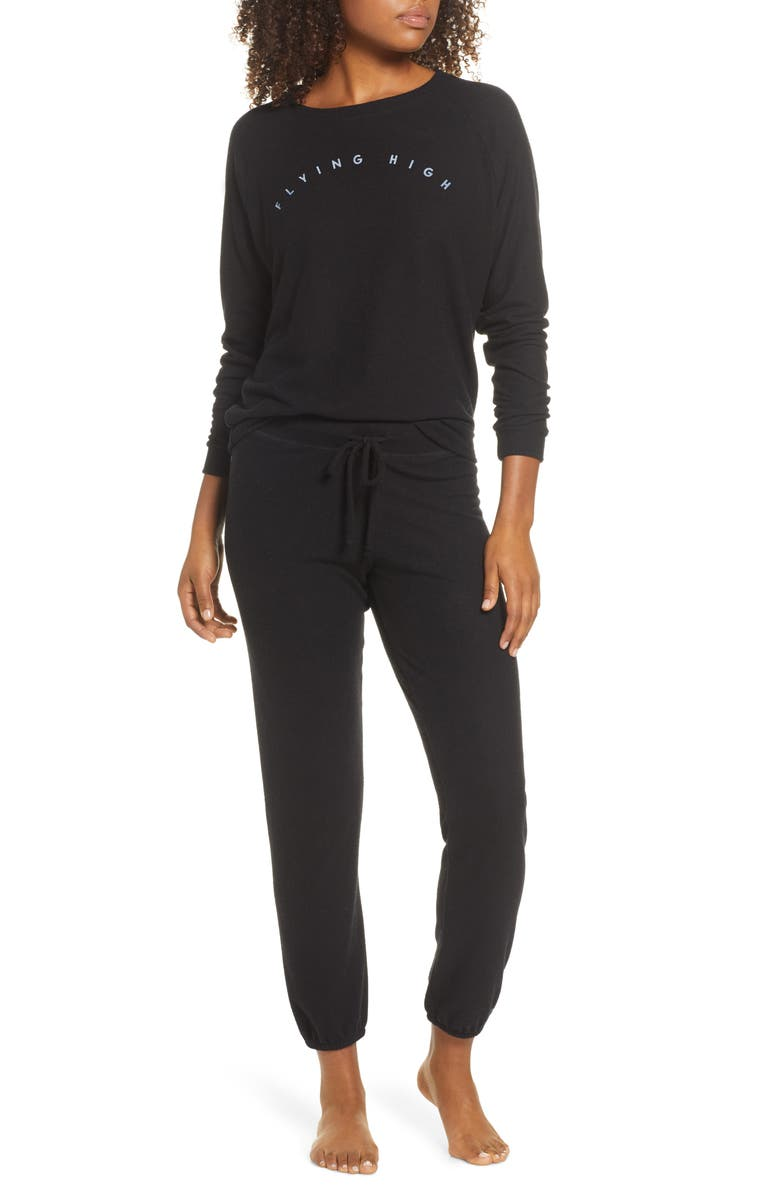 PROJECT SOCIAL T Flying High Travel Pajamas, Main, color, BLACK
