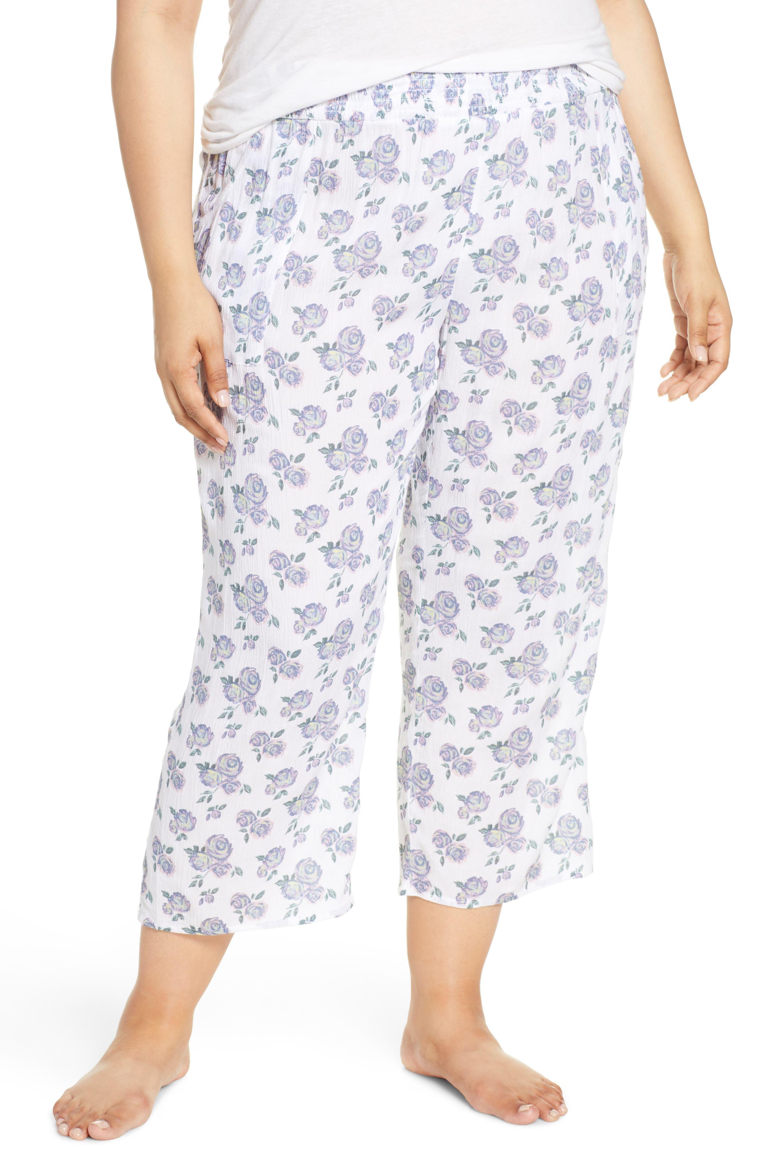 Plus Size Make + Model Crinkle Crop Pajama Pants, Pink