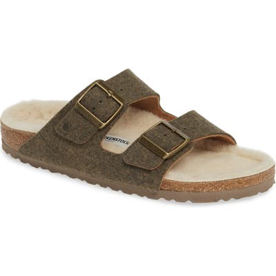 Birkenstock Arizona Slide Sandal With Faux Shearling,8.5 - Green